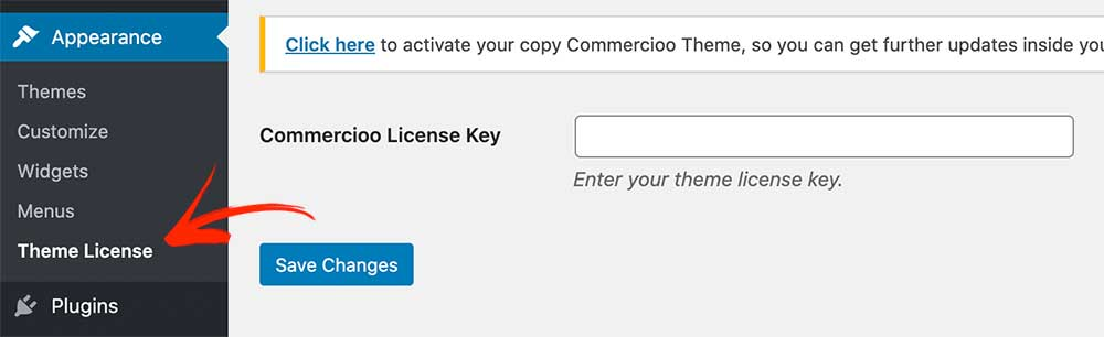Commercioo Theme activate license key
